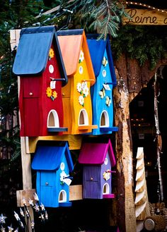 """Brightly Colored Group Of Birdhouses!!! Bebe""""!!! Love these attention grabbing birdhouses!!! They are very cheerful!!!"""