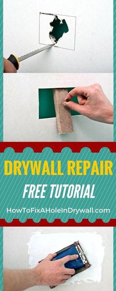 home repair How to fix a hole in drywall - Easy to instructions and tips for you to repair drywall holes as a professional in no time! Repair Drywall Hole, Patching Drywall, Fixing Drywall Holes, Fix Hole In Wall, Easy Projects, Home Projects, Home Renovation, Home Remodeling, Kitchen Remodeling