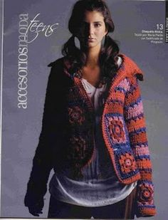 Jacket, nice use of the granny square and love the colours