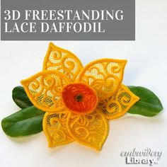 Machine Embroidery Designs at Embroidery Library! Applique, Lace Art, Daffodil Flower, Flower Video, Lace Embroidery, Lace Flowers, Daffodils, Machine Embroidery Designs, Diy Projects
