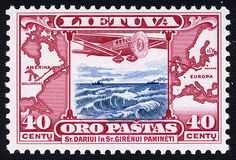 Lithuanian postage stamp commemorating the flight