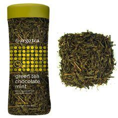 Argo Tea's Green Tea Chocolate Mint: Premium loose leaf green tea infused with chocolate and mint. Caffeine: Moderate.
