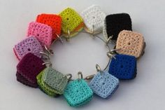 Easy way to truly see what a color combination will look like ~ Crochet Small Squares to facilitate choosing color combinations.{On separate index cards, attach a yarn sample, with the respective company and color name.}