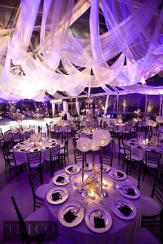 Suhaag Garden, cascading ceiling draping, wedding reception, centerpieces, Florida wedding decor and design vendor