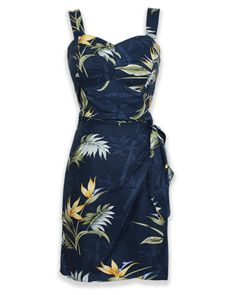 Jade Fashions Inc Women Rayon Hawaiian Short Silver Orchid Black Tank dress