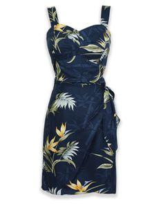 Jade Fashions Inc Women Rayon Hawaiian Short Silver Orchid Black Tank dress