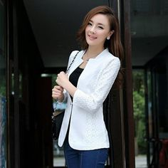 Casual Blazer Suits Coat Single Button Basic Jacket Plus Size Elegant blazer - every women need blazer like this one in clothes. White or black color - however, wonderful !!