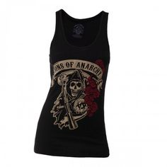 Sons of Anarchy - Reaper with Roses Femme Tanktop Debardeur - Noir - Taille Small