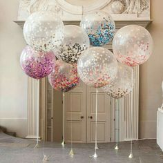 Huge confetti balloons make a big impact when gathered together. It would make an even bigger splash if popped at the same time!