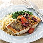 Sea Bass with Tomatoes and Olives Recipe | MyRecipes.com