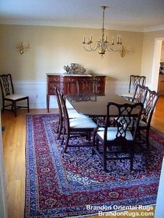 (BrandonRugs.com) Our customer's home in Bethlehem, PA. Notice that the hand-knotted Persian Kashan rug (made in Iran) is properly sized so that every guest's chair is atop the rug when the guests are seated.