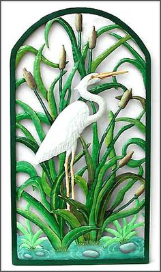 """Hand Painted Metal Tropical Wall Decor - Large White Egret Wall Panel - Handcrafted Metal Art - Haitian Steel Drum  - 21"""" x 38""""  K- 7323 by TropicAccents on Etsy"""