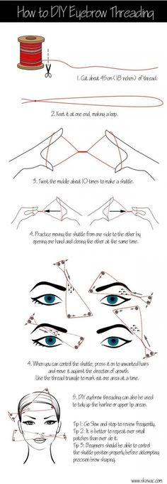 Manuelles Augenbrauen zupfen mit einem Faden - schon mal probiert?
