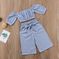 Baby Kids Girls Off-shoulder Tops T-shirt Casual Stripe Bowknot Pants OutfitsCrop top with matching loose fitted pants for that little fashionista of yours.Fashionista is an understatementSewing for kids girls toddlers outfit 45 new IdeasExplore our Baby Outfits, Little Girl Outfits, Little Girl Fashion, Toddler Outfits, Kids Outfits, Kids Fashion, Trendy Fashion, Fashion 2016, Toddler Fashion