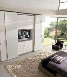 Contemporary wardrobe / sliding door / with integrated unit for TV Falegnami%categories%Bedroom Wardrobe Design Bedroom, Tv In Bedroom, Master Room, Closet Bedroom, Bedroom Decor, Extra Bedroom, Bedroom Cupboards, Suites, Contemporary Bedroom
