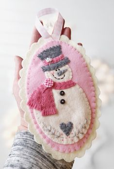 Specializing in the uniquely handcrafted by simplyeilene - Specializing in the uniquely handcrafted by simplyeilene Pink and gray felt snowman ornament pattern. Ornament Pattern, Felt Ornaments Patterns, Fabric Ornaments, Beaded Ornaments, Christmas Sewing, Handmade Christmas, Christmas Crafts, Pink Christmas, Felt Christmas Decorations