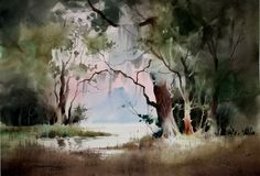 """Sterling Edwards was selected as a featured artist in the book, """"Best of America Watermedia Artists"""" published by Kennedy Publishing Compan. Watercolor Pictures, Watercolor Landscape Paintings, Watercolor Trees, Easy Watercolor, Abstract Watercolor, Watercolour Painting, Landscape Art, Watercolors, Art Aquarelle"""
