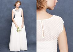 classic jcrew wedding dress with dot pattern and cap sleeves