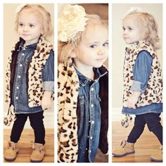 leopard love. Emma already has this vest now I need to find a chambray shirt for her :)