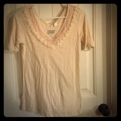 60%Organic cotton! Large Threads 4 Thought t-shirt Threads 4 Thought Sustainable Apparel, large t-shirt with fancy lacy trim! Great for both casual and dress casual. Fits more like a medium. 60% organic cotton,40% recycled polyester. Threads 4 Thought Tops Tees - Short Sleeve