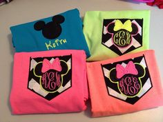 Minnie or Mickey Mouse applique w monogram pocket shirt tshirt gr8 for Disney trip made to order choose your size, color thread and T-shirt on Etsy, $15.00