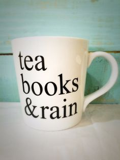 Tea Books & Rain Mug, Tea Books and Rain Mug, Rainy Day Mug