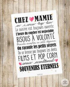 "Affiche ""Chez Papi & Mamie"" ou ""Chez Mamie"" Photo quality poster to offer to your Grandparents! Ideal as a gift for Grandmothers Day! format: 21 x Frame not included. Cadeau Grand Parents, Grandmother's Day, A4 Poster, Lettering, Positive Attitude, Grandparents, Kids And Parenting, Cool Words, Positivity"