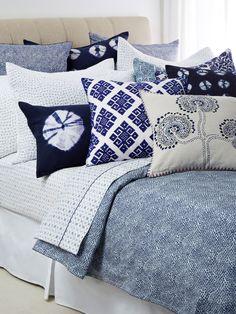 Indigo bedding. I love this look!!  So crisp and clean!!