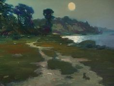 "Moon on the North Jetty by F. Michael Wood Oil ~ 16"" x 20"""