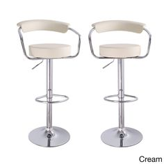 Adeco Modern Adjustable Hydraulic Lift Barstool Chair Set (Cream), Beige Off-White (Chrome)
