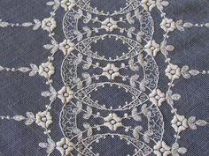 Large Antique French Net Lace Intricate Densely Embroidered Coverlet Curtain 96x