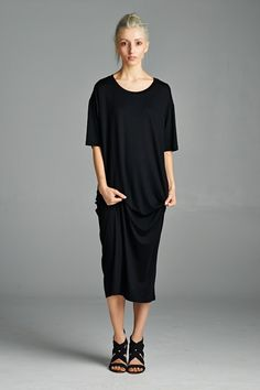Oversized midi-length t-shirt dress that is comfortable yet stylish. Made with bamboo fabric that drapes well and is super soft. Made in USA. www.cherishusa.com www.fashiongo.net/cherish