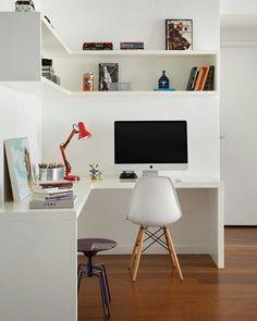 """Home office basiquinho em """"L"""" pra aproveitar aquele espaço perdido! ❤ {Projeto @luizalemgruber} #decoraçãopravocê #homeofficedpv"""