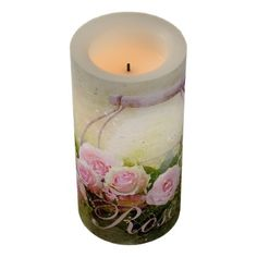 #Pink Rose Basket Flameless Candle - #candle #candles #special #custom