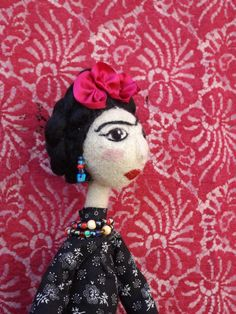 Frida art doll needlefelted OOAK collectible, Custom Order unique gift doll by Pupillae on Etsy https://www.etsy.com/listing/206154935/frida-art-doll-needlefelted-ooak