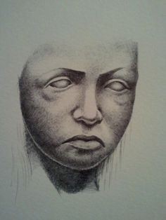 A face that I drew with a biro in my wee sketchbook. I forget the name of the dude that carved the sculpture that was the reference for this.
