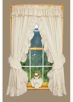 Astoria Grand Heather Solid Colour Ruffled Priscilla Curtains Pair with tie backs Size per Panel: W x L, Colour: Natural Ruffle Curtains, Rod Pocket Curtains, White Curtains, Grommet Curtains, Panel Curtains, Curtain Panels, Valances, Blackout Curtains, Country Style Curtains