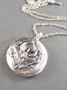 Calla Lily Silver Locket Necklace