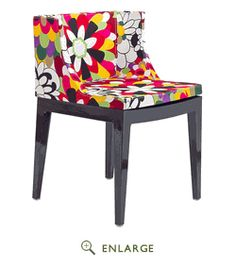 Flower Design Accent Chair black legs