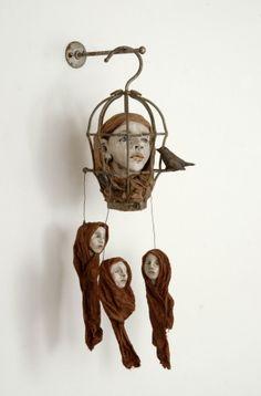 assemblage art by Elissa Farrow Savos Found Object Art, Found Art, Mixed Media Sculpture, Sculpture Art, Arte Peculiar, Arte Fashion, Steampunk, Art Brut, Small Sculptures