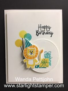 My Creative Corner!: Bonanza Buddies, Birthday Card, 2020 Stampin' Up! Birthday Cards For Boys, Handmade Birthday Cards, Birthday Kids, Happy Birthday Wanda, Baby Boy Cards, Stamping Up Cards, Animal Cards, Kids Cards, Cute Cards