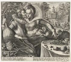 Crispijn van de Passe (I) | Avond: minnend paar, Crispijn van de Passe (I), 1574 - 1637 | De Avond: prieel met een elegant gekleed paar dat elkaar omhelst. De man houdt een luit in de hand. Een hond springt tegen de vrouw op. Op de achtergrond een kasteeltuin met een elegant gezelschap. In de marge een zesregelig onderschrift, in twee kolommen, in het Latijn dat verwijst naar de avond.