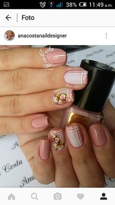 Kawaii Nails, Hair And Makeup Tips, Hot Nails, Simple Nail Designs, Flower Nails, Beautiful Nail Art, Simple Nails, Nail Arts, Manicure And Pedicure