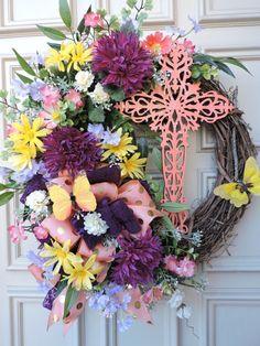 Spring Door Wreath  Spring Grapevine Wreath  by BerdiesBloomers