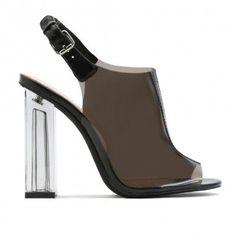 Kimmy Slingback Perspex Peeptoe Ankle Boots in Black