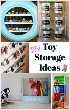 Toy storage comes in so many ways. Refinished toy boxes, dress up storage, lego mat, and many other creative DIY toy storage ideas to keep the abundance of toys under control. via @justthewoods