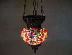 No reserve mosaic hanging lamp glass light lampe mosaique Türkische lamp 78 #handmade #moroccan