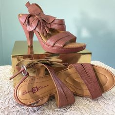 Born Crown PINK High Heel Open Toe Sandals Leather Flower Summer Sexy Size 8M/W #BrnCrown #OpenToe