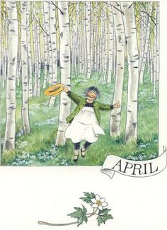 Serie of 12 postcards by Swedish illustrator Lena Anderson, featuring the main character Linnea. Vintage Illustration, Elsa Beskow, All Nature, Months In A Year, 12 Months, Illustrations And Posters, Spring Time, Childrens Books, Illustrators
