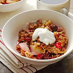 """""""Rise and Shine"""" Cranberry Apple Crisp. Spiced coconut streusel adds crunch to healthy apples and berries."""